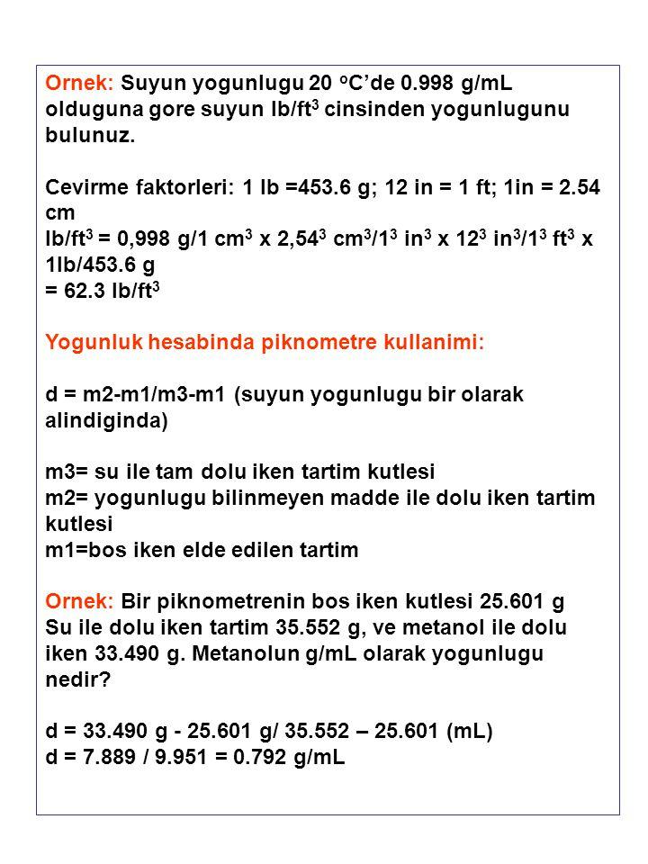 Ornek: Suyun yogunlugu 20 o C'de 0.998 g/mL olduguna gore suyun lb/ft 3 cinsinden yogunlugunu bulunuz. Cevirme faktorleri: 1 lb =453.6 g; 12 in = 1 ft