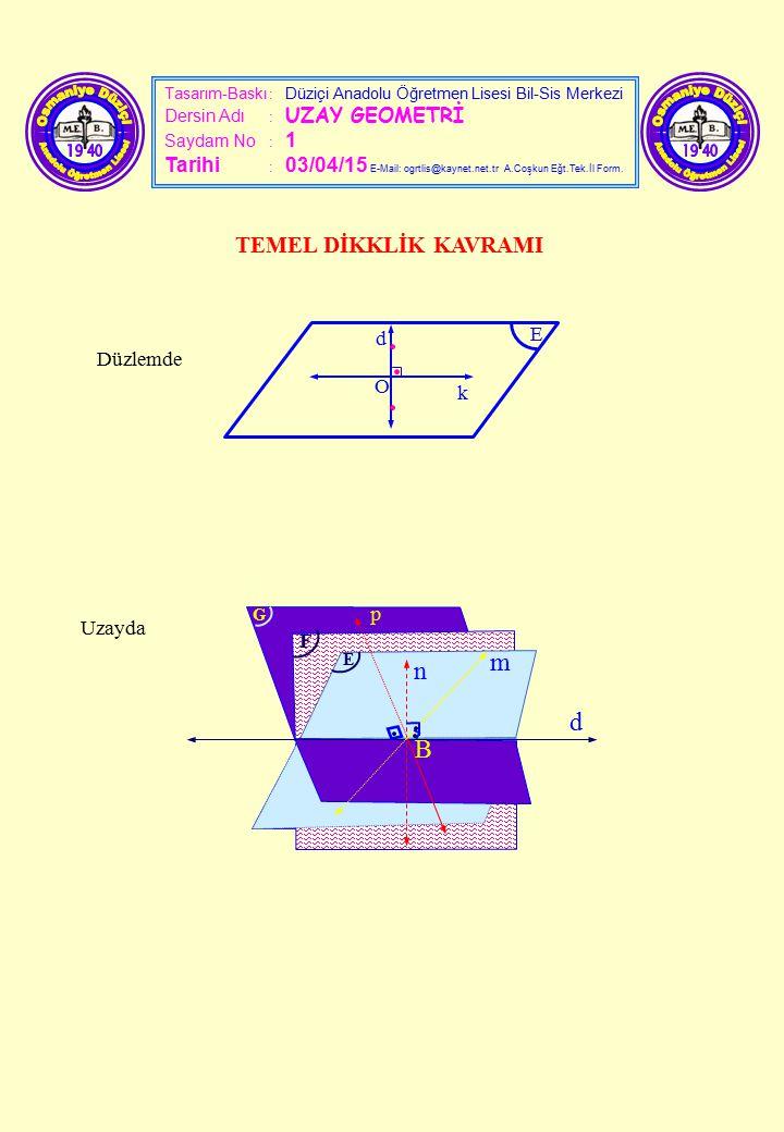 Tasarım-Baskı : Düziçi Anadolu Öğretmen Lisesi Bil-Sis Merkezi Dersin Adı : UZAY GEOMETRİ Saydam No : 1 Tarihi : 03/04/15 E-Mail: ogrtlis@kaynet.net.t