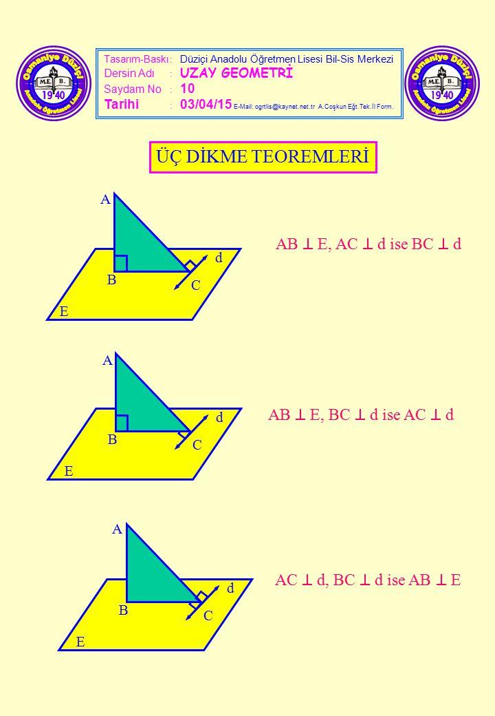 Tasarım-Baskı : Düziçi Anadolu Öğretmen Lisesi Bil-Sis Merkezi Dersin Adı : UZAY GEOMETRİ Saydam No : 10 Tarihi : 03/04/15 E-Mail: ogrtlis@kaynet.net.