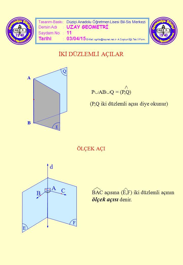 Tasarım-Baskı : Düziçi Anadolu Öğretmen Lisesi Bil-Sis Merkezi Dersin Adı : UZAY GEOMETRİ Saydam No : 11 Tarihi : 03/04/15 E-Mail: ogrtlis@kaynet.net.