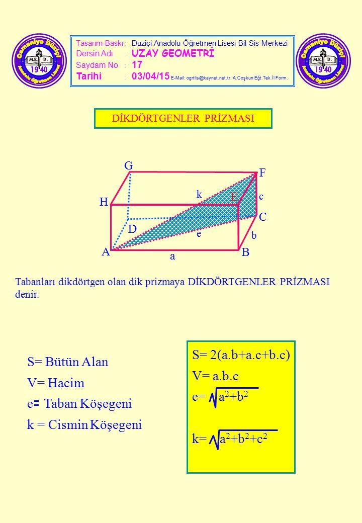 Tasarım-Baskı : Düziçi Anadolu Öğretmen Lisesi Bil-Sis Merkezi Dersin Adı : UZAY GEOMETRİ Saydam No : 17 Tarihi : 03/04/15 E-Mail: ogrtlis@kaynet.net.
