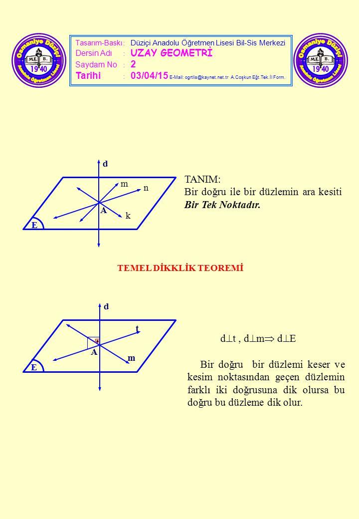 Tasarım-Baskı : Düziçi Anadolu Öğretmen Lisesi Bil-Sis Merkezi Dersin Adı : UZAY GEOMETRİ Saydam No : 2 Tarihi : 03/04/15 E-Mail: ogrtlis@kaynet.net.t