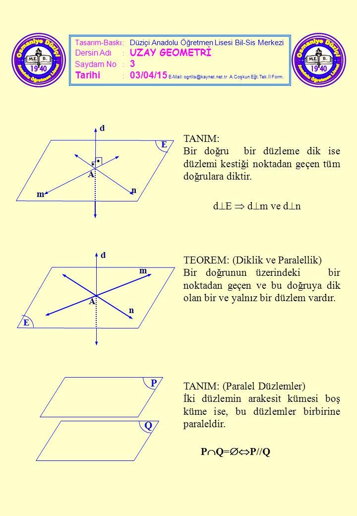 Tasarım-Baskı : Düziçi Anadolu Öğretmen Lisesi Bil-Sis Merkezi Dersin Adı : UZAY GEOMETRİ Saydam No : 3 Tarihi : 03/04/15 E-Mail: ogrtlis@kaynet.net.t