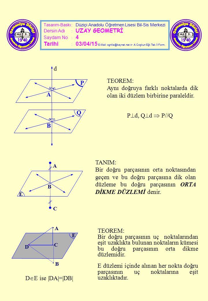 Tasarım-Baskı : Düziçi Anadolu Öğretmen Lisesi Bil-Sis Merkezi Dersin Adı : UZAY GEOMETRİ Saydam No : 4 Tarihi : 03/04/15 E-Mail: ogrtlis@kaynet.net.t
