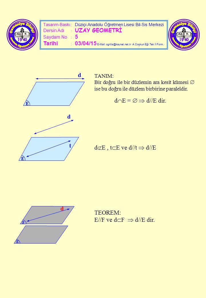 Tasarım-Baskı : Düziçi Anadolu Öğretmen Lisesi Bil-Sis Merkezi Dersin Adı : UZAY GEOMETRİ Saydam No : 5 Tarihi : 03/04/15 E-Mail: ogrtlis@kaynet.net.t