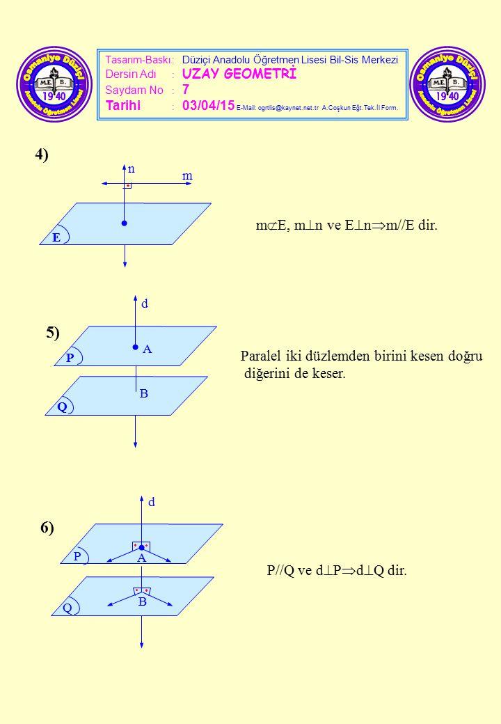 Tasarım-Baskı : Düziçi Anadolu Öğretmen Lisesi Bil-Sis Merkezi Dersin Adı : UZAY GEOMETRİ Saydam No : 7 Tarihi : 03/04/15 E-Mail: ogrtlis@kaynet.net.t