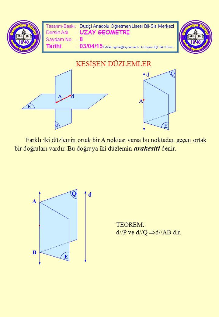 Tasarım-Baskı : Düziçi Anadolu Öğretmen Lisesi Bil-Sis Merkezi Dersin Adı : UZAY GEOMETRİ Saydam No : 8 Tarihi : 03/04/15 E-Mail: ogrtlis@kaynet.net.t