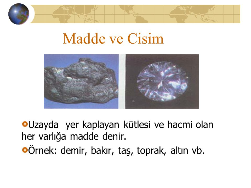 Maddeyi Tanıyalım Madde ve Cisim Maddenin Özellikleri Maddenin Haller Maddenin Hal Değiştirmesi