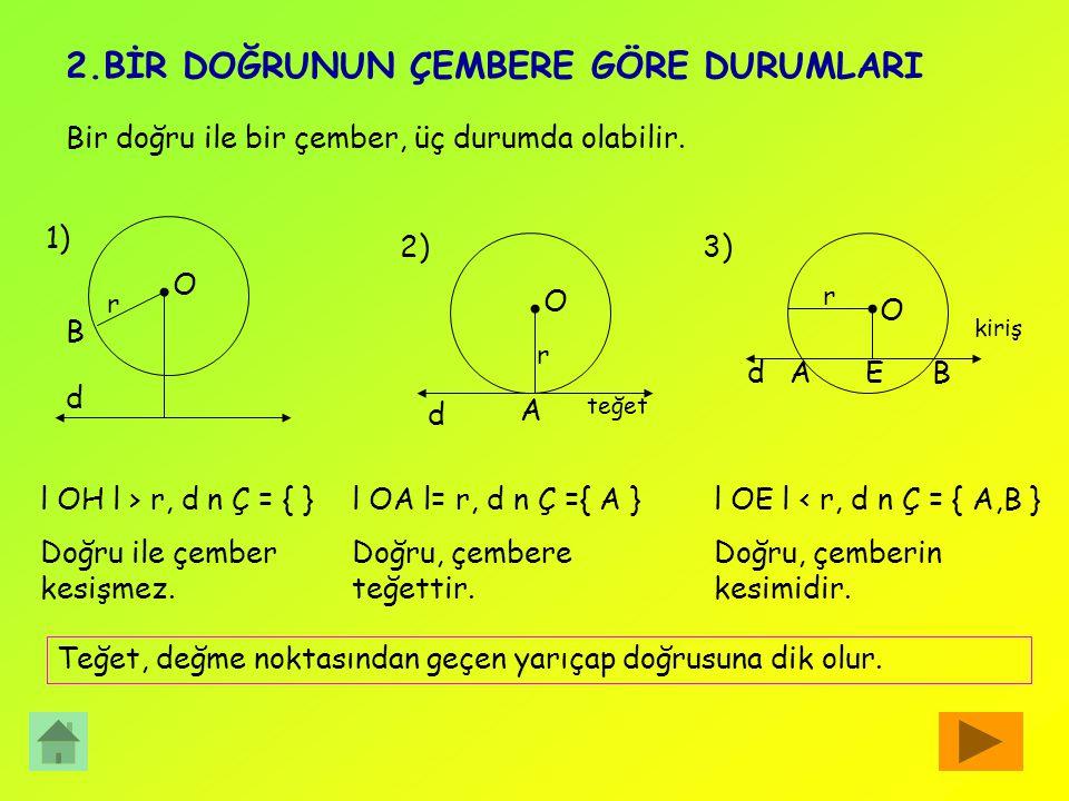 c)Çemberde; Kesen, Kiriş,Teğet ve Yay Bir doğrunun çemberle iki ortak noktası varsa, bu doğruya, çemberin keseni denir.d doğrusu kesendir. Çemberin el