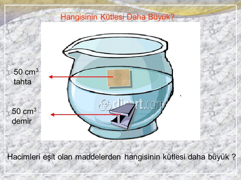 Hangisinin Kütlesi Daha Büyük? Hacimleri eşit olan maddelerden hangisinin kütlesi daha büyük ? 50 cm 3 tahta 50 cm 3 demir