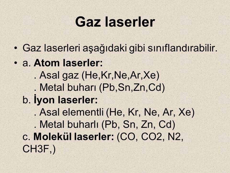 Gaz laserler Gaz laserleri aşağıdaki gibi sınıflandırabilir. a. Atom laserler:. Asal gaz (He,Kr,Ne,Ar,Xe). Metal buharı (Pb,Sn,Zn,Cd) b. İyon laserler