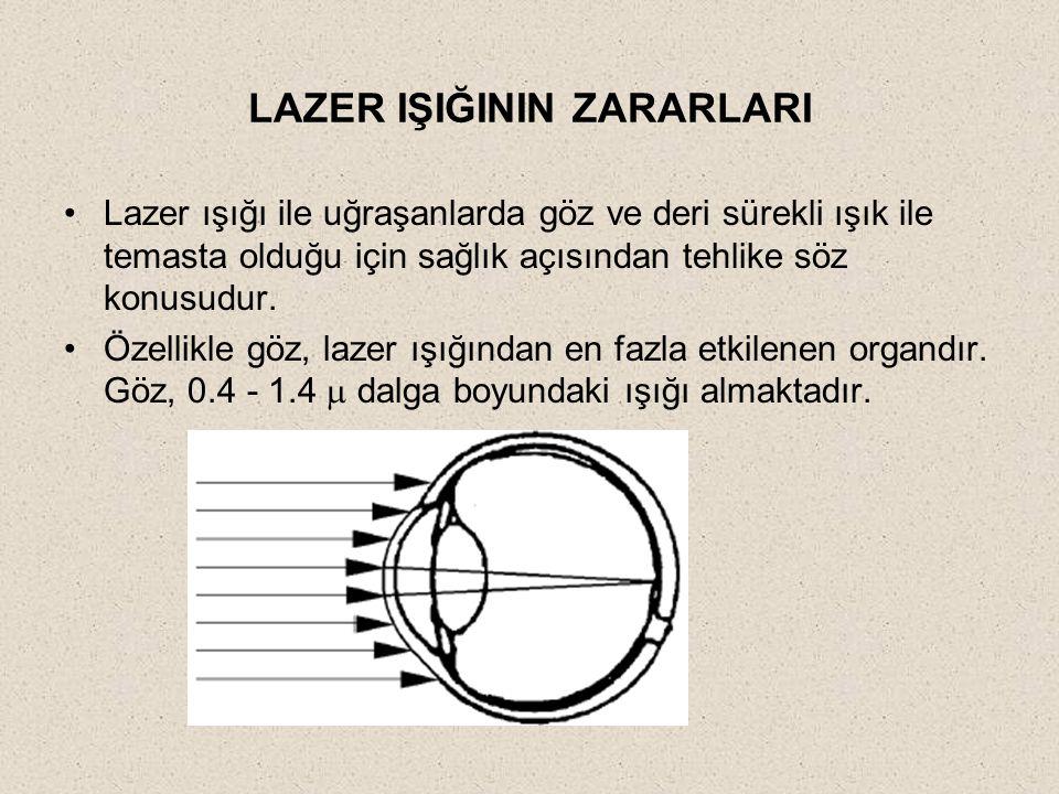 LAZER IŞIĞININ ZARARLARI Lazer ışığı ile uğraşanlarda göz ve deri sürekli ışık ile temasta olduğu için sağlık açısından tehlike söz konusudur. Özellik