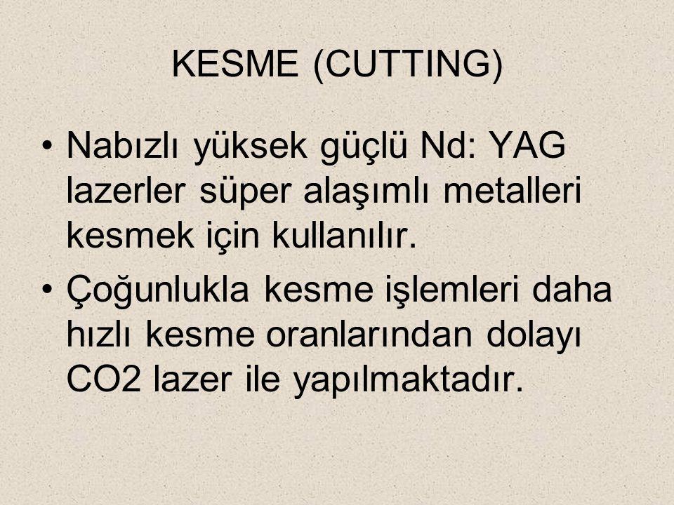 KESME (CUTTING) Nabızlı yüksek güçlü Nd: YAG lazerler süper alaşımlı metalleri kesmek için kullanılır. Çoğunlukla kesme işlemleri daha hızlı kesme ora