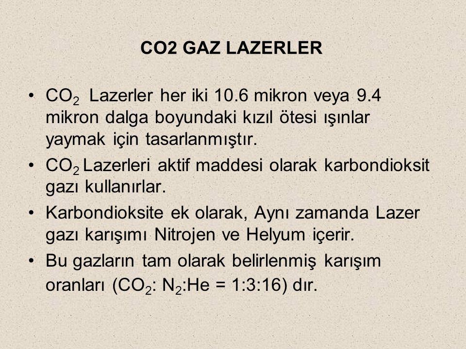 CO2 GAZ LAZERLER CO 2 Lazerler her iki 10.6 mikron veya 9.4 mikron dalga boyundaki kızıl ötesi ışınlar yaymak için tasarlanmıştır. CO 2 Lazerleri akti