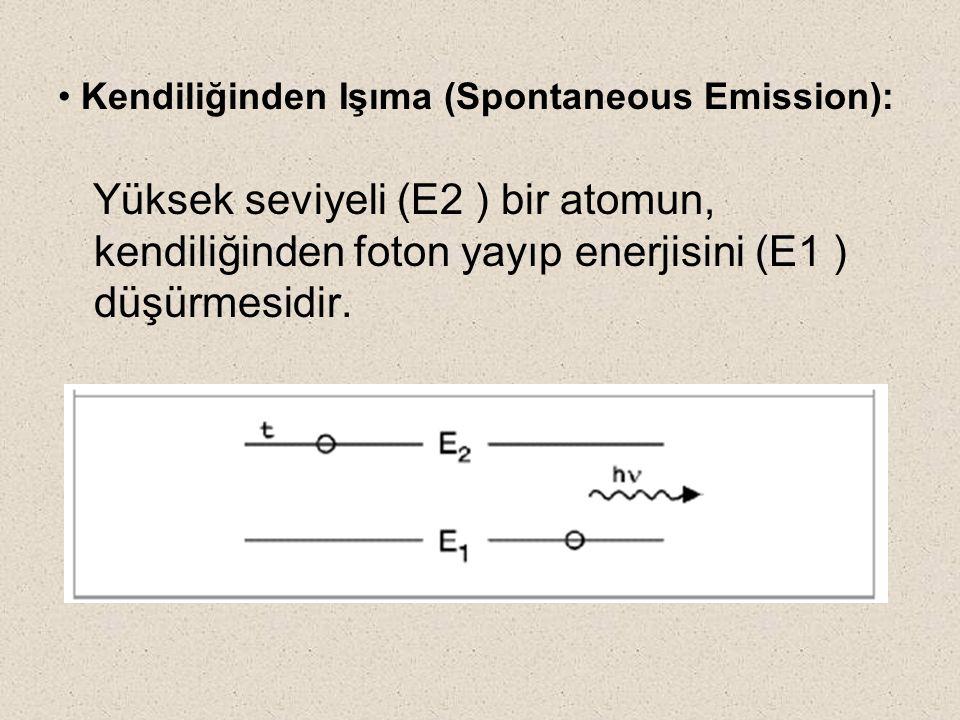 Kendiliğinden Işıma (Spontaneous Emission): Yüksek seviyeli (E2 ) bir atomun, kendiliğinden foton yayıp enerjisini (E1 ) düşürmesidir.