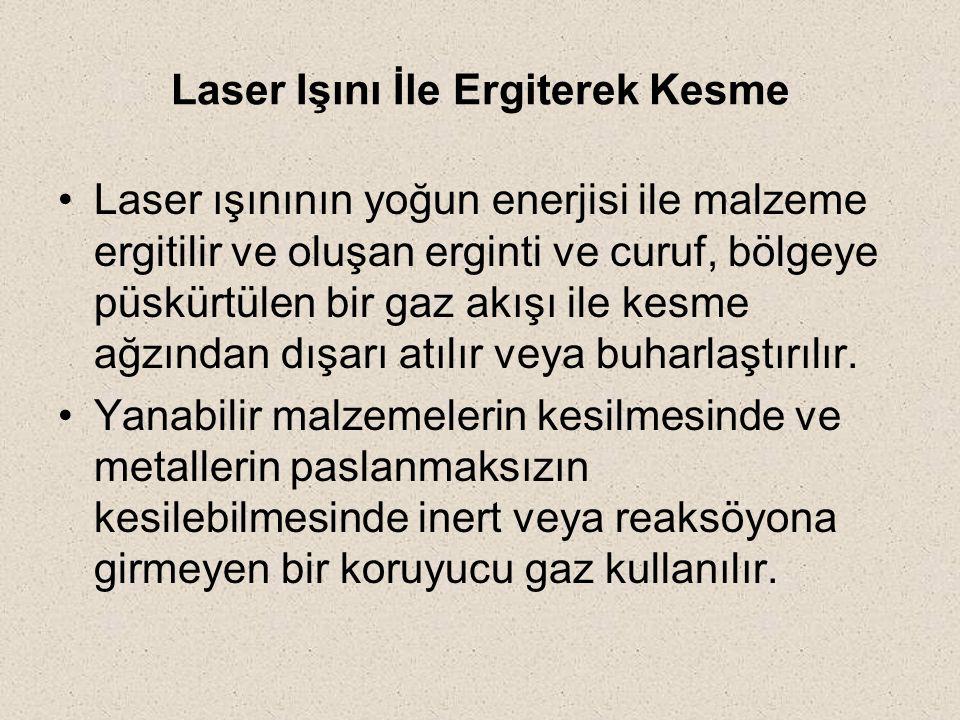 Laser Işını İle Ergiterek Kesme Laser ışınının yoğun enerjisi ile malzeme ergitilir ve oluşan erginti ve curuf, bölgeye püskürtülen bir gaz akışı ile
