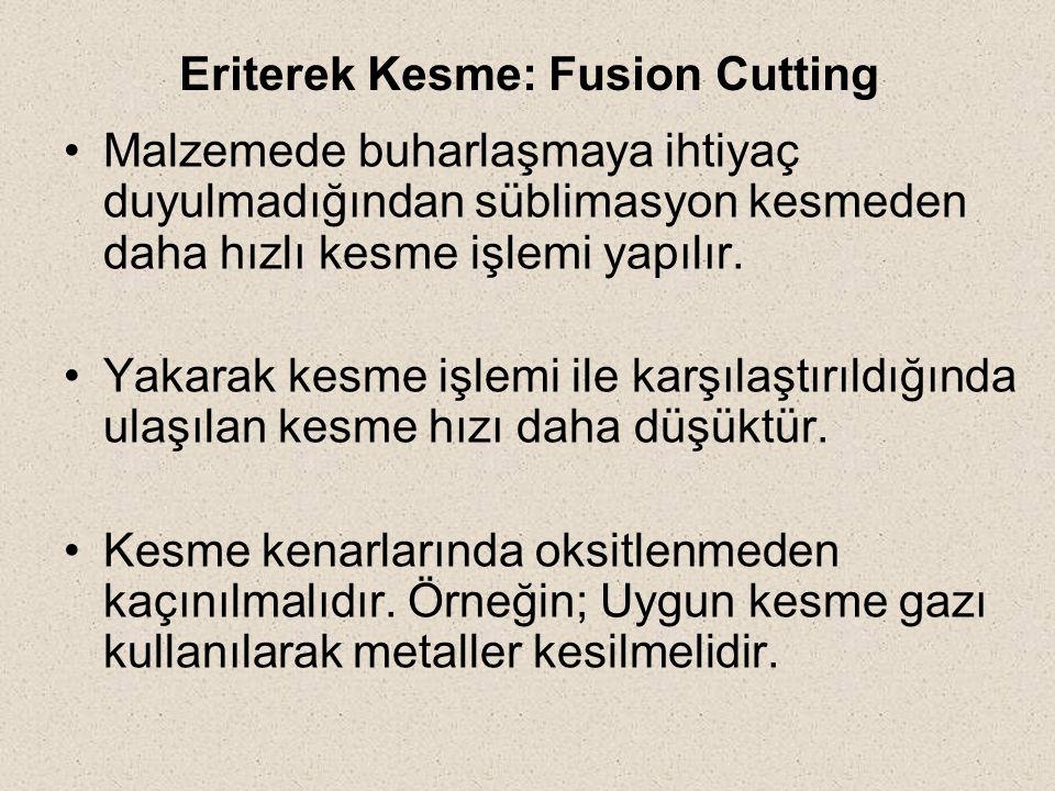 Eriterek Kesme: Fusion Cutting Malzemede buharlaşmaya ihtiyaç duyulmadığından süblimasyon kesmeden daha hızlı kesme işlemi yapılır. Yakarak kesme işle