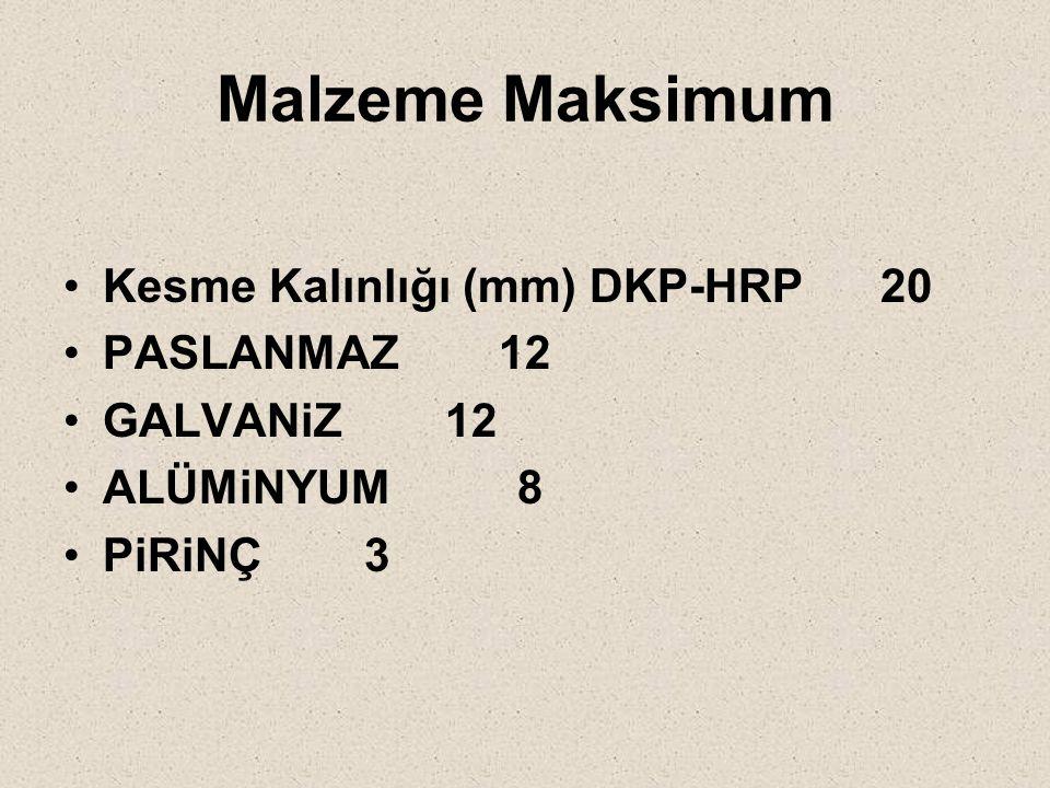 Malzeme Maksimum Kesme Kalınlığı (mm) DKP-HRP 20 PASLANMAZ 12 GALVANiZ 12 ALÜMiNYUM 8 PiRiNÇ 3