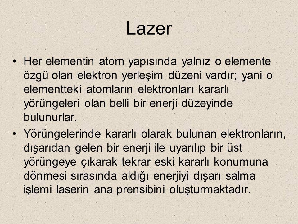 Lazer Her elementin atom yapısında yalnız o elemente özgü olan elektron yerleşim düzeni vardır; yani o elementteki atomların elektronları kararlı yörü