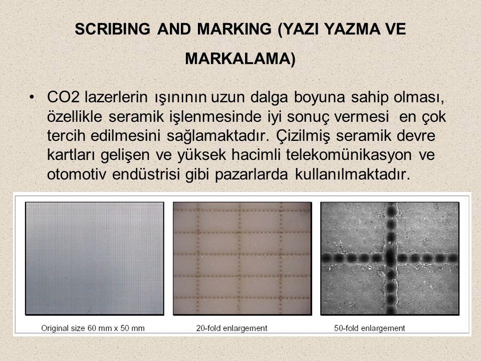 SCRIBING AND MARKING (YAZI YAZMA VE MARKALAMA) CO2 lazerlerin ışınının uzun dalga boyuna sahip olması, özellikle seramik işlenmesinde iyi sonuç vermes