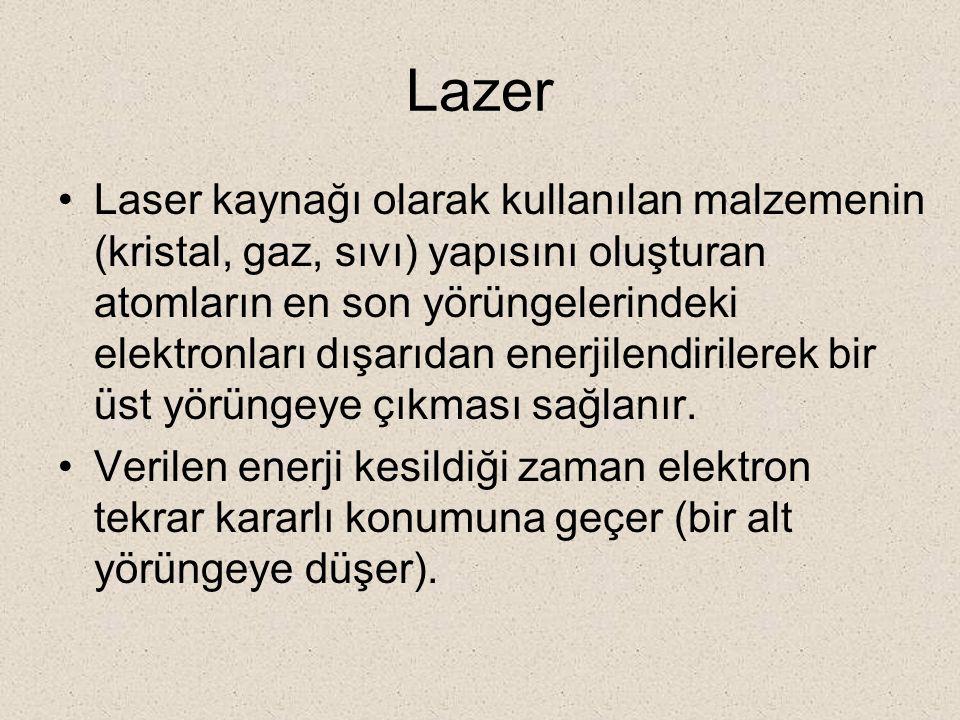 Lazer Laser kaynağı olarak kullanılan malzemenin (kristal, gaz, sıvı) yapısını oluşturan atomların en son yörüngelerindeki elektronları dışarıdan ener