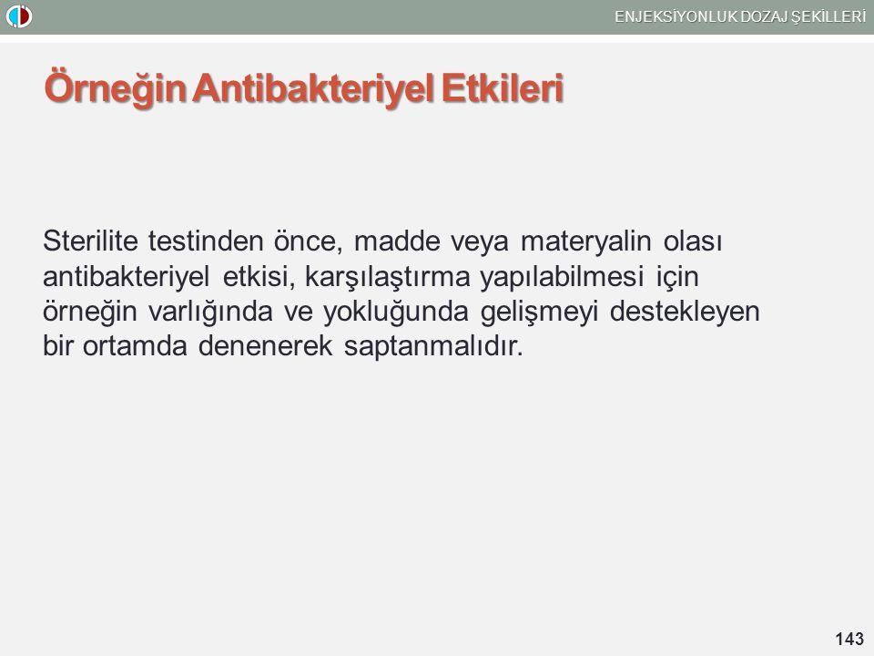 Örneğin Antibakteriyel Etkileri Sterilite testinden önce, madde veya materyalin olası antibakteriyel etkisi, karşılaştırma yapılabilmesi için örneğin varlığında ve yokluğunda gelişmeyi destekleyen bir ortamda denenerek saptanmalıdır.