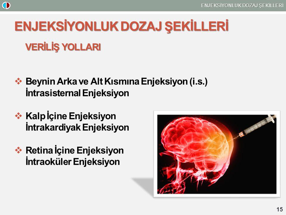 ENJEKSİYONLUK DOZAJ ŞEKİLLERİ VERİLİŞ YOLLARI  Beynin Arka ve Alt Kısmına Enjeksiyon (i.s.) İntrasisternal Enjeksiyon  Kalp İçine Enjeksiyon İntrakardiyak Enjeksiyon  Retina İçine Enjeksiyon İntraoküler Enjeksiyon 15