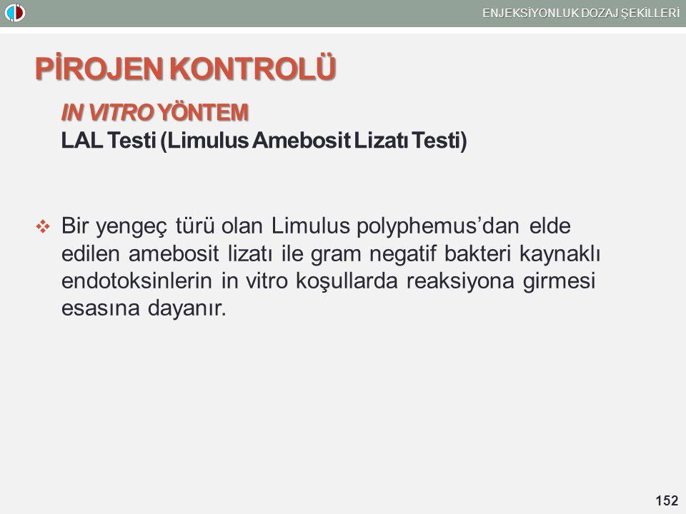 IN VITRO YÖNTEM IN VITRO YÖNTEM LAL Testi (Limulus Amebosit Lizatı Testi)  Bir yengeç türü olan Limulus polyphemus'dan elde edilen amebosit lizatı ile gram negatif bakteri kaynaklı endotoksinlerin in vitro koşullarda reaksiyona girmesi esasına dayanır.