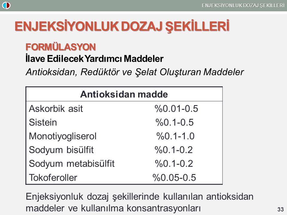 33 ENJEKSİYONLUK DOZAJ ŞEKİLLERİ FORMÜLASYON İlave Edilecek Yardımcı Maddeler Antioksidan, Redüktör ve Şelat Oluşturan Maddeler Enjeksiyonluk dozaj şekillerinde kullanılan antioksidan maddeler ve kullanılma konsantrasyonları Antioksidan madde Askorbik asit %0.01-0.5 Sistein %0.1-0.5 Monotiyogliserol %0.1-1.0 Sodyum bisülfit %0.1-0.2 Sodyum metabisülfit %0.1-0.2 Tokoferoller %0.05-0.5