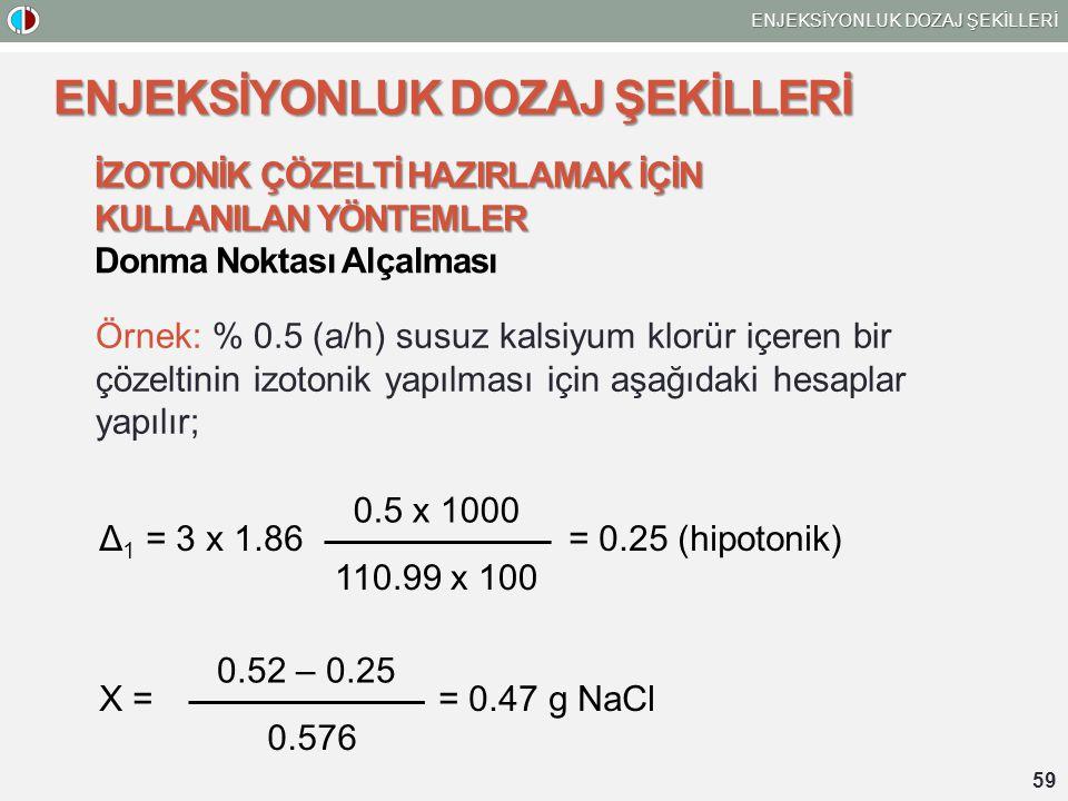 59 ENJEKSİYONLUK DOZAJ ŞEKİLLERİ İZOTONİK ÇÖZELTİ HAZIRLAMAK İÇİN KULLANILAN YÖNTEMLER Donma Noktası Alçalması Örnek: % 0.5 (a/h) susuz kalsiyum klorür içeren bir çözeltinin izotonik yapılması için aşağıdaki hesaplar yapılır; Δ 1 = 3 x 1.86 = 0.25 (hipotonik) 0.5 x 1000 110.99 x 100 0.52 – 0.25 0.576 X = = 0.47 g NaCl