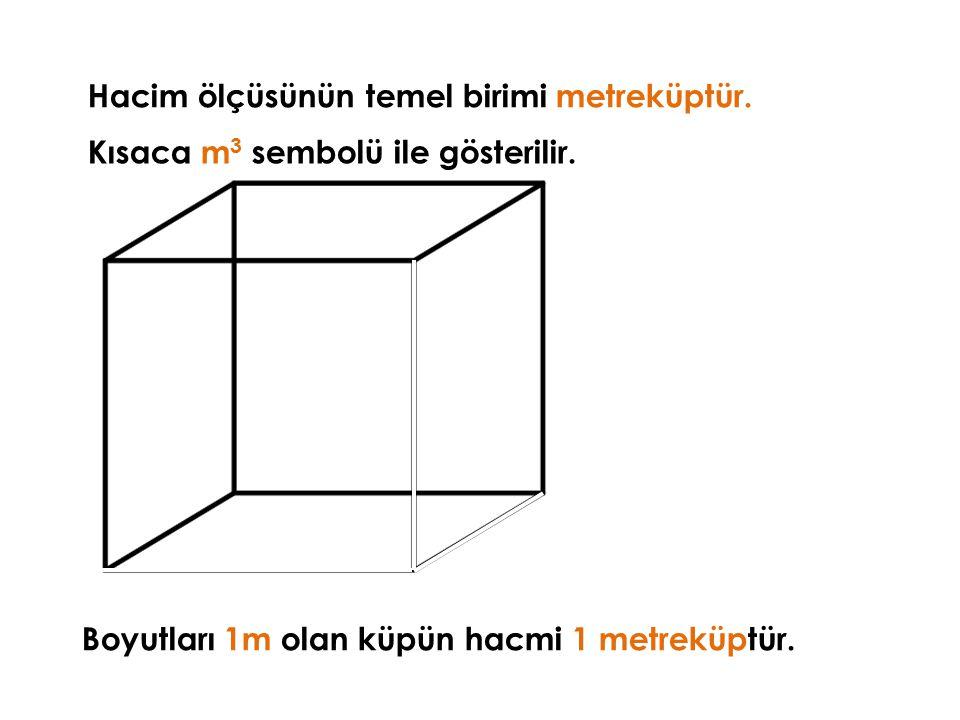 Hacim ölçüsünün temel birimi metreküptür.Kısaca m 3 sembolü ile gösterilir.