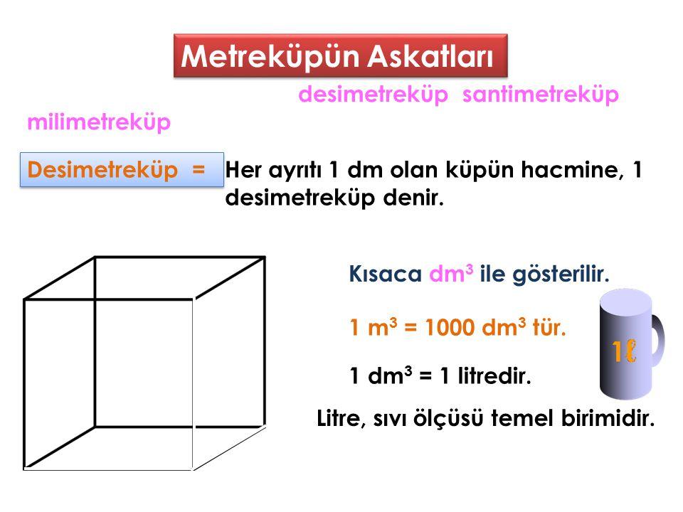 Metreküpün Askatları Santimetreküp = Santimetreküp =Her ayrıtı 1 cm olan küpün hacmine, 1 santimetreküp denir.