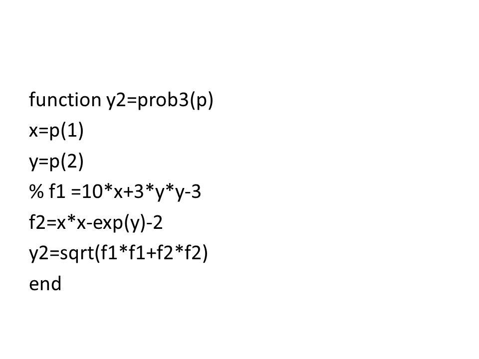 function y2=prob3(p) x=p(1) y=p(2) % f1 =10*x+3*y*y-3 f2=x*x-exp(y)-2 y2=sqrt(f1*f1+f2*f2) end