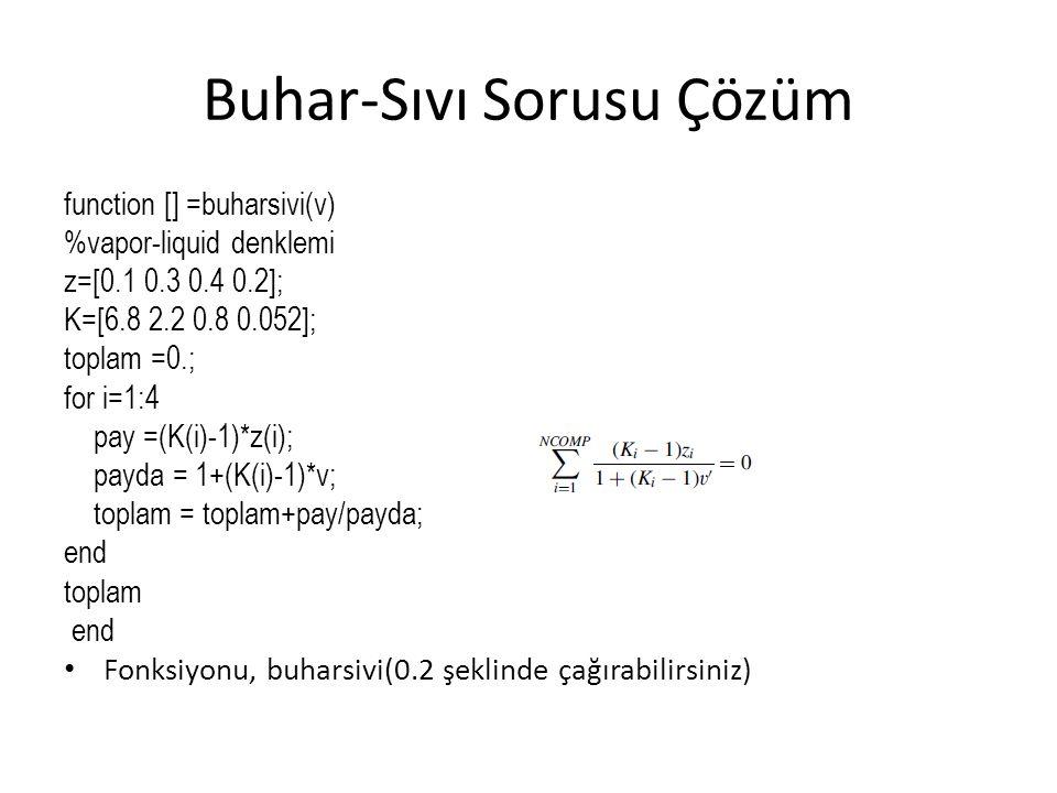 Buhar-Sıvı Sorusu Çözüm function [] =buharsivi(v) %vapor-liquid denklemi z=[0.1 0.3 0.4 0.2]; K=[6.8 2.2 0.8 0.052]; toplam =0.; for i=1:4 pay =(K(i)-1)*z(i); payda = 1+(K(i)-1)*v; toplam = toplam+pay/payda; end toplam end Fonksiyonu, buharsivi(0.2 şeklinde çağırabilirsiniz)