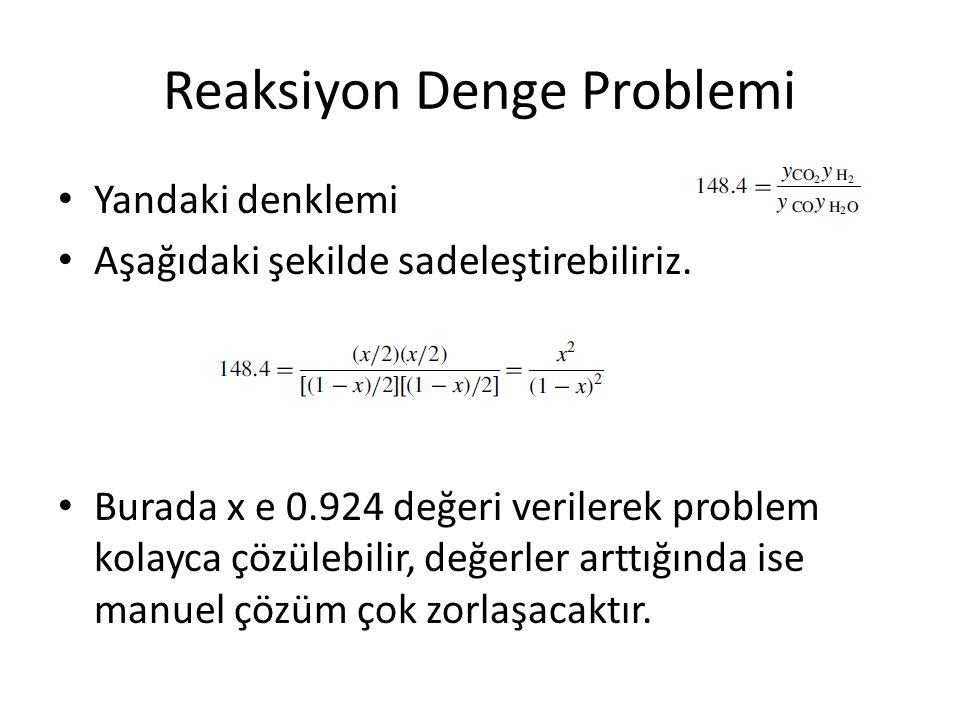 Reaksiyon Denge Problemi Yandaki denklemi Aşağıdaki şekilde sadeleştirebiliriz.