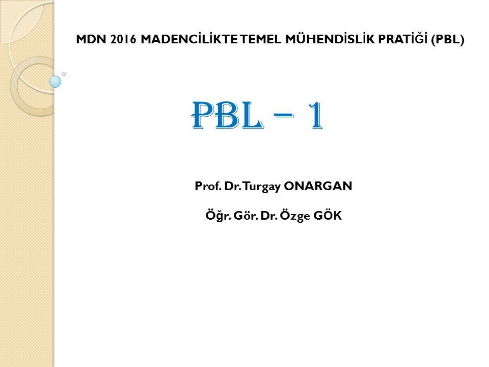 MDN 2016 MADENC İ L İ KTE TEMEL MÜHEND İ SL İ K PRAT İĞİ (PBL) PBL – 1 Prof.
