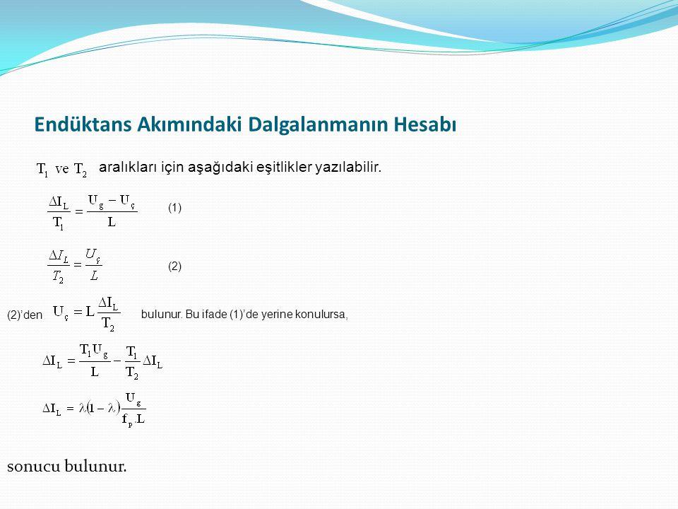 Endüktans Akımındaki Dalgalanmanın Hesabı aralıkları için aşağıdaki eşitlikler yazılabilir.