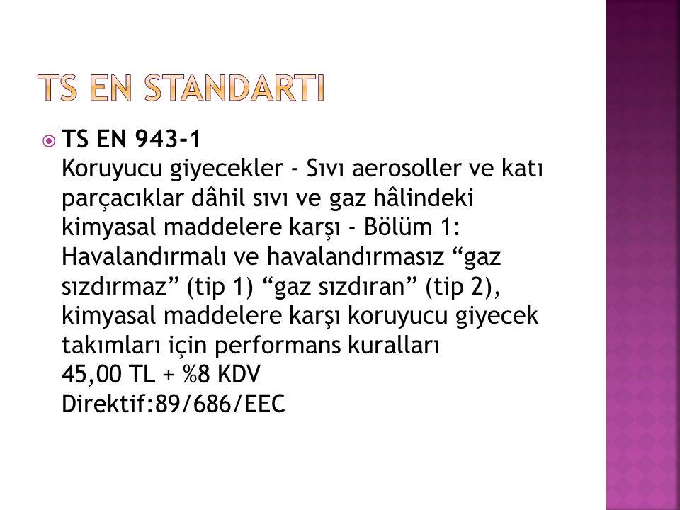  TS EN 943-1 Koruyucu giyecekler - Sıvı aerosoller ve katı parçacıklar dâhil sıvı ve gaz hâlindeki kimyasal maddelere karşı - Bölüm 1: Havalandırmalı ve havalandırmasız gaz sızdırmaz (tip 1) gaz sızdıran (tip 2), kimyasal maddelere karşı koruyucu giyecek takımları için performans kuralları 45,00 TL + %8 KDV Direktif:89/686/EEC