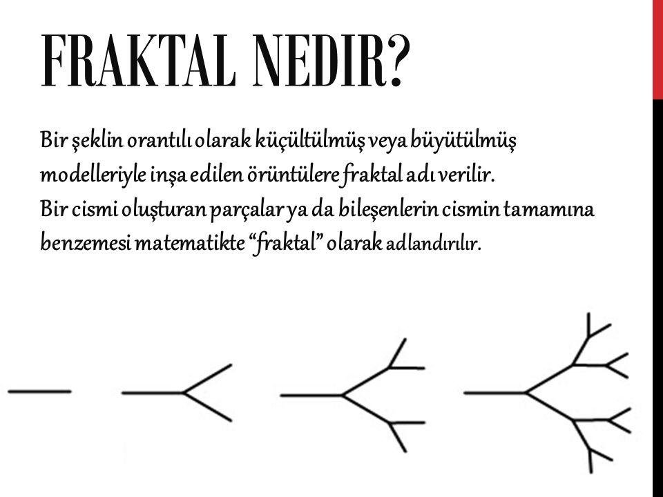 FRAKTAL NEDIR? Bir şeklin orantılı olarak küçültülmüş veya büyütülmüş modelleriyle inşa edilen örüntülere fraktal adı verilir. Bir cismi oluşturan par