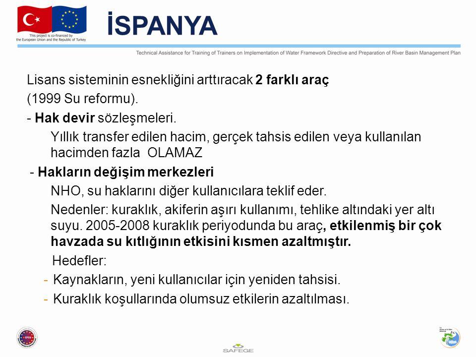 İSPANYA Lisans sisteminin esnekliğini arttıracak 2 farklı araç (1999 Su reformu).