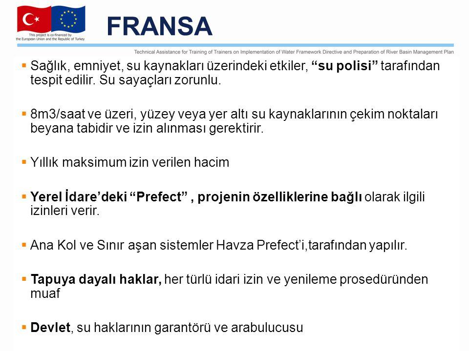 FRANSA  Sağlık, emniyet, su kaynakları üzerindeki etkiler, su polisi tarafından tespit edilir.