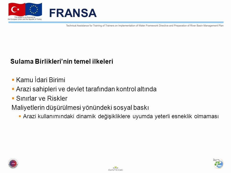 FRANSA Sulama Birlikleri'nin temel ilkeleri  Kamu İdari Birimi  Arazi sahipleri ve devlet tarafından kontrol altında  Sınırlar ve Riskler Maliyetlerin düşürülmesi yönündeki sosyal baskı  Arazi kullanımındaki dinamik değişikliklere uyumda yeterli esneklik olmaması