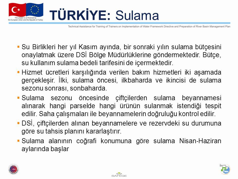 TÜRKİYE: Sulama  Su Birlikleri her yıl Kasım ayında, bir sonraki yılın sulama bütçesini onaylatmak üzere DSİ Bölge Müdürlüklerine göndermektedir.