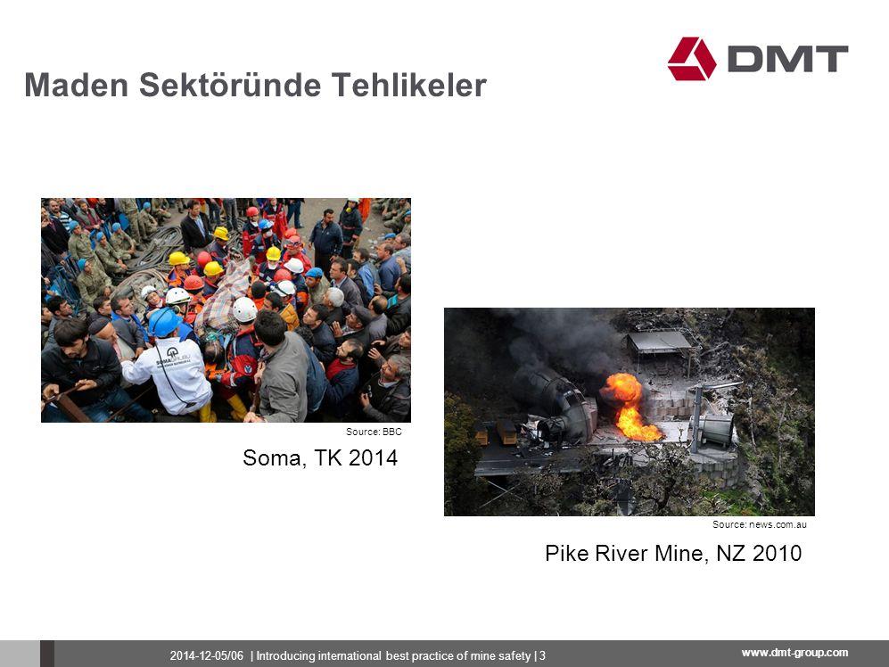 www.dmt-group.com Gaz (CH 4 (grizu-metan) patlamaları, gaz patlamaları...) Kömür tozu (patlamaları) Yanma (kendinden yanabilirlik, konveyörlerin tutuşması...) Kaya basıncı (kaya patlaması, tavan düşmesi...) Su (sel) Maden Sektöründe Tehlikeler 2014-12-05/06   Introducing international best practice of mine safety   4