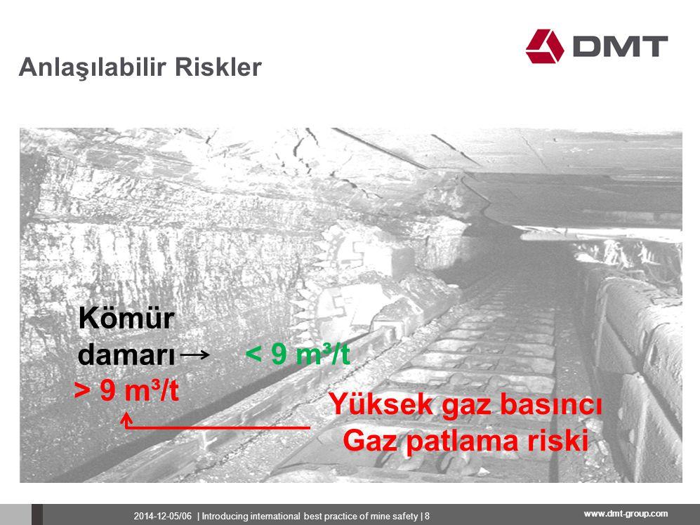 www.dmt-group.com Anlaşılabilir Riskler Tavan ve taban tabakalarının yıkımı nedeniyle sürekli gaz çıkışı Geçici gaz bariyerleri nedeniyle ani gaz çıkışlarının riski 200.000 m 3 2014-12-05/06   Introducing international best practice of mine safety   9