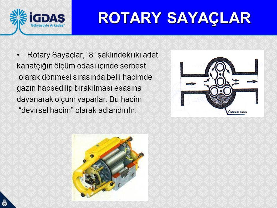 """ROTARY ROTARY SAYAÇLAR Rotary Sayaçlar, """"8"""" şeklindeki iki adet kanatçığın ölçüm odası içinde serbest olarak dönmesi sırasında belli hacimde gazın hap"""