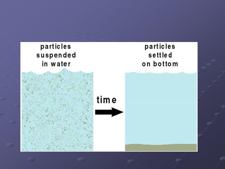 SEDİMENTASYON Yerçekimi etkisiyle bir, çözeltideki ağır tanecikler sedimentasyon adı verilen bir süreç sonunda sıvı sütunun dibine çöker.