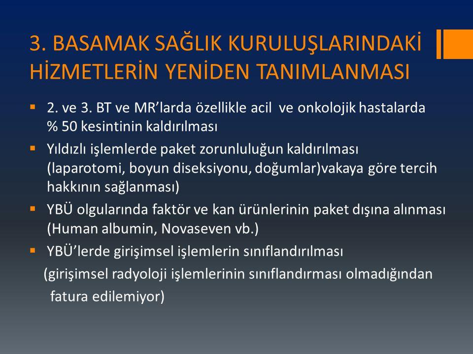 3.BASAMAK SAĞLIK KURULUŞLARINDAKİ HİZMETLERİN YENİDEN TANIMLANMASI  2.