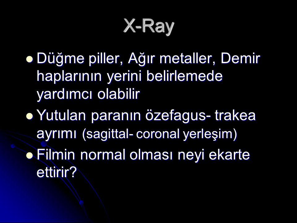 X-Ray Düğme piller, Ağır metaller, Demir haplarının yerini belirlemede yardımcı olabilir Düğme piller, Ağır metaller, Demir haplarının yerini belirlemede yardımcı olabilir Yutulan paranın özefagus- trakea ayrımı (sagittal- coronal yerleşim) Yutulan paranın özefagus- trakea ayrımı (sagittal- coronal yerleşim) Filmin normal olması neyi ekarte ettirir.