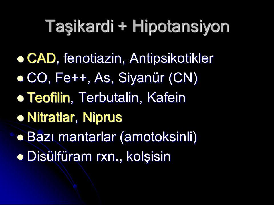 Taşikardi + Hipotansiyon CAD, fenotiazin, Antipsikotikler CAD, fenotiazin, Antipsikotikler CO, Fe++, As, Siyanür (CN) CO, Fe++, As, Siyanür (CN) Teofilin, Terbutalin, Kafein Teofilin, Terbutalin, Kafein Nitratlar, Niprus Nitratlar, Niprus Bazı mantarlar (amotoksinli) Bazı mantarlar (amotoksinli) Disülfüram rxn., kolşisin Disülfüram rxn., kolşisin